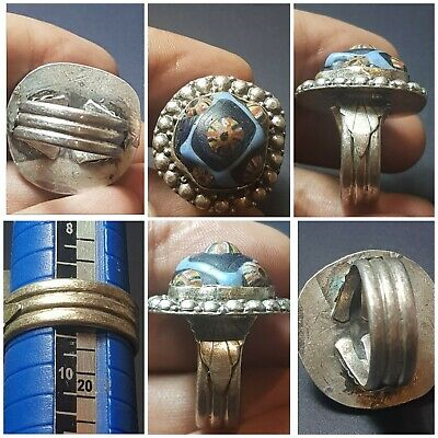Ancient Roman old mosaic glass fit on pure 925 sterling silver ring