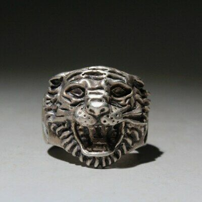 Collectable Unusual China Ancient Miao Silver Carve Delicate Tiger Head Old Ring
