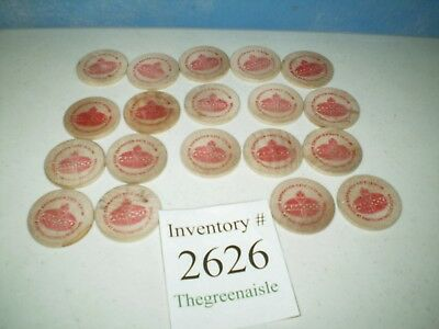 Classic 1998 Amoco Gas Station Lot of 19 Wood Coins Soda Promotion Coins