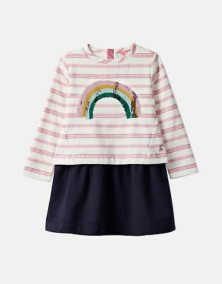 Joules Girls Lucy Mock Layer Dress  - PINK STRIPE SEQUIN RAINBOW