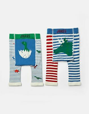 Joules Baby Lively Pack of Two Knitted Leggings - MULTI DINO STRIPE