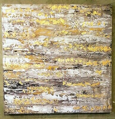 Gold Leaf Abstract Textured painting on Canvas With 20x20 Earth Tones