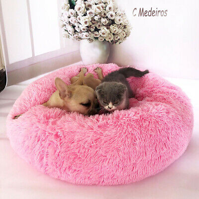 Sn _ Hiver Petit Chien Chat Grotte Couchage Lit Peluche Coussin Rond Cage Animal