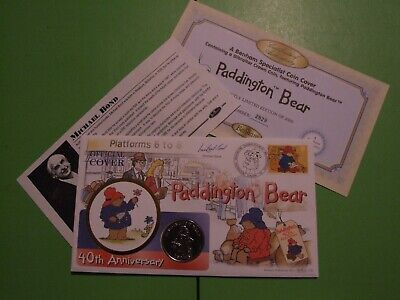Benham Coin Cover 1998 Paddington Bear Signed Creator Michael Bond