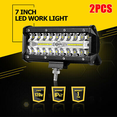2Pcs Tri-Row 7inch 120W LED Work Light Bar Combo ATV SUV 4WD UTE Offroad Driving