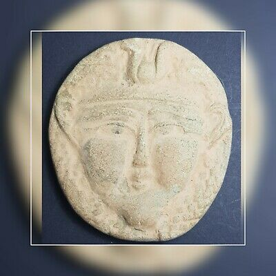 Amyzing Egyptians old antique terracotta faience face comeo