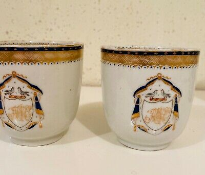 Two Antique Chinese Export Porcelain Tea Cups Armorial