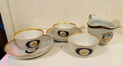 Antique Chinese Export Armorial Cup Bowl & Gravy Boat Lot