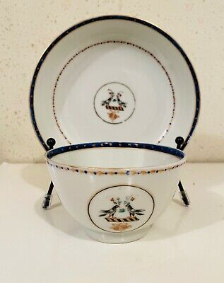 Antique Chinese Export Armorial Cup Saucer Set