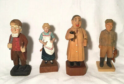 """Lot of 4 Hand Carved Figures or Figurines 6"""" to 6.75"""" Tall"""