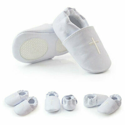Baby Boy Girl Soft Sole Cross Baptism Shoes Modest Christening Church White AU