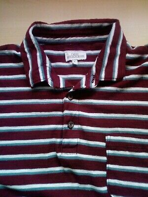Mens NEXT Striped Short Sleeve Polo Shirt Size Large L