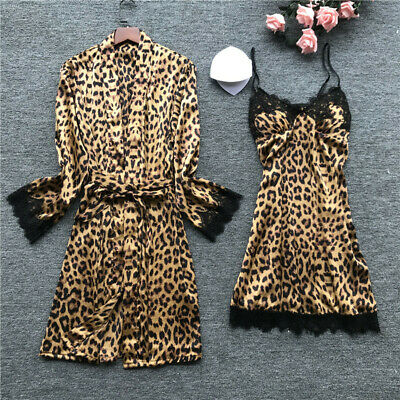 Women Satin Silk Pajamas Cardigan Dress Nightdress Bathrobe Robes Sleepwear Set
