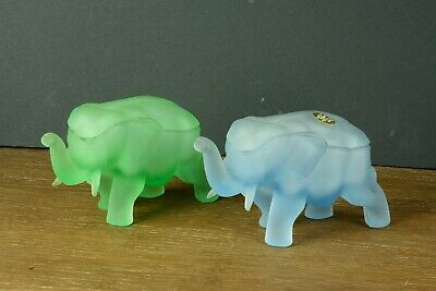 Two Tiara/ Indan glass elephants figurines candy dishes with lids