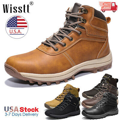 Men's Winter Snow Boots Outdoor Waterproof Leather Ankle Boots Hiking Work Shoes