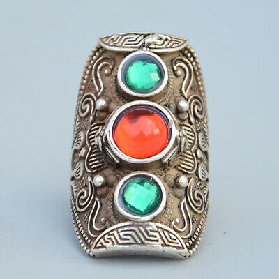 Unusual Collectable China Miao Silver Mosaic Agate Delicate Beautiful Noble Ring