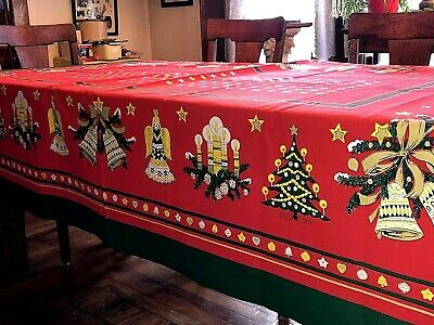 Vintage Red Holiday Tablecloth Mid Century Christmas Bells~Angels~Trees~58 x 84
