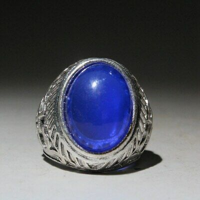 Unusual Collectable China Ancient Miao Silver Mosaic Agate Beautiful Noble Ring