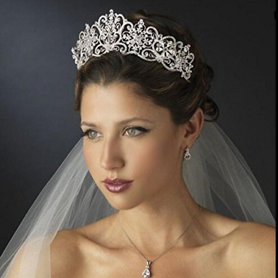Stunning Brand New Silver Crown/Tiara With Clear Crystals, Bridal Or Racing