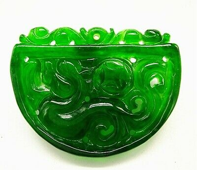 Rare Chinese Ice Green Jadeite Jade Handwork Collectible Dragon Amulet Pendant A