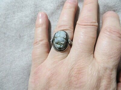 Art Deco 20-30's Egyptian Revival Scarab Stone Carved Flip Silver Ring s.6.5