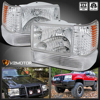 For 1993-1996 Grand Cherokee Crystal Clear Headlights+Corner Lamps+Bumper Lights