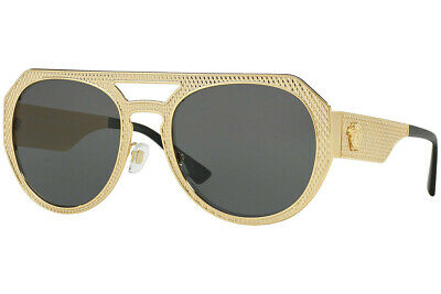 Authentic Versace VE2215-100287 Sunglasses Gold //Grey *NEW* 39mm