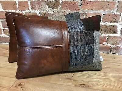 Pair Of Harris Tweed /& Antique Chestnut Leather Cushions 20� X 14�