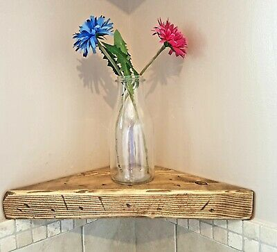 Rustic Chunky Wooden farmhouse  Corner Display Shelf hand made from solid wood
