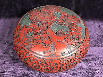 Antique / vintage Chinese carved red cinnabar large box