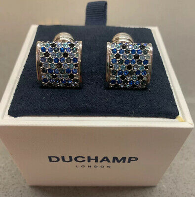 Duchamp London Crystals Cufflinks Multi Coloured Blue Brand New Boxed