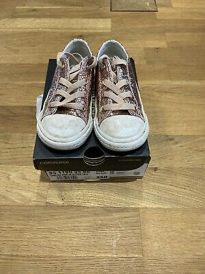 Converse Trainers Childrens  Rose gold glitter - Lace Up- Uk Size 8
