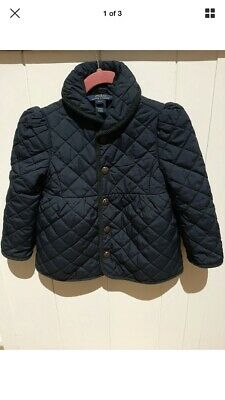 Girls Ralph Lauren POLO quilted padded jacket coat Navy Blue SIZE 3T age 3