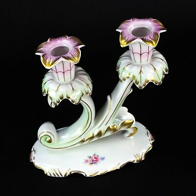 Hollohaza Hungary Porcelain Floral Double Candlestick Candle Holder Vintage Rare
