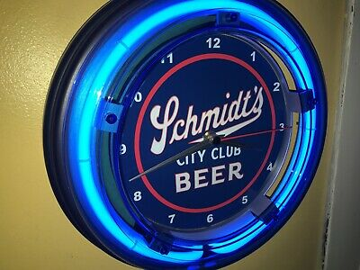 Schmidt's City Club Beer Bar Man Cave Blue Neon Wall Clock Sign
