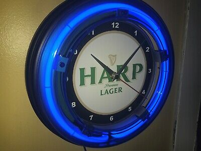 Harp Lager Beer Bar Man Cave Blue Neon Wall Clock Advertising Sign