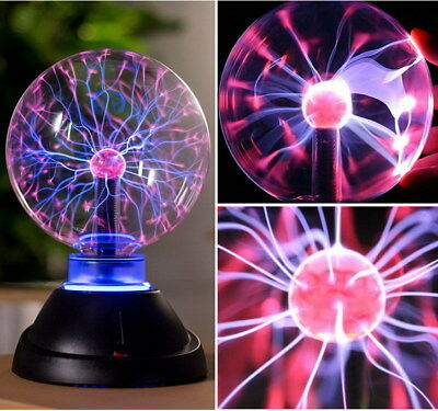 "9"" Plasma Ball Sphere Globe Amazing Holiday Lightning Lamp Light Sound Response"