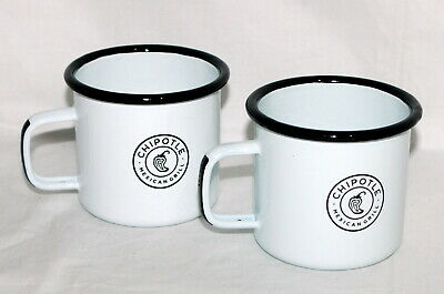 Chipotle Mexican Grill Enamelware Coffee Cups Lot Set 2 White Camping