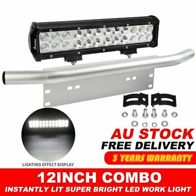 12inch CREE LED Light Bar FLOOD SPOT Work Driving Bar w/ 23'' Number Plate Frame