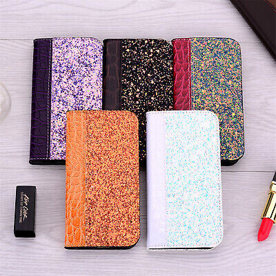 Fr iPhone 11 Pro XS Max XR X 8/7 Leather Bling Pattern Flip Wallet PU Case Cover
