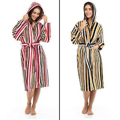 Women's Ladies Luxury 100% Terry Cotton Hooded Spa Multi Color Striped Bathrobes