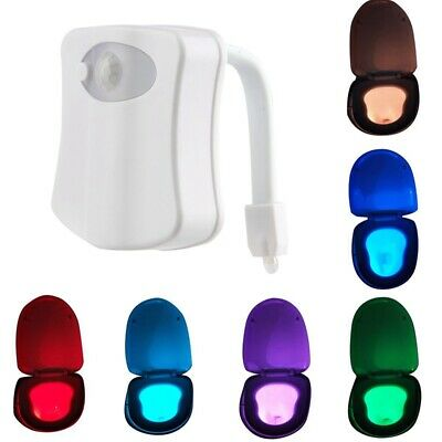 8 Color Changing Toilet Night Light Motion-Activated LED Sensor Bathroom Home