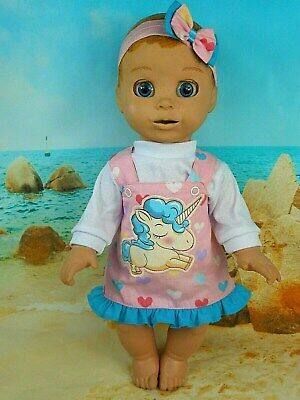 """Dolls clothes for 18"""" LUVABELLA DOLL~UNICORN~COLOURFUL HEARTS PINAFORE~TOP~H'BOW"""