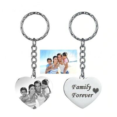 Metal Personalized Photo Picture Text Printed Engraved Custom Keychain Key Ring