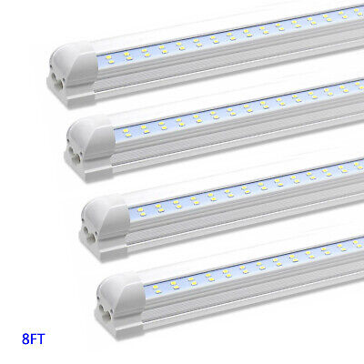 4 Pack T8 8FT Integrated LED Tube Light Fixture 90W 6500K Clear Lens Shop Light