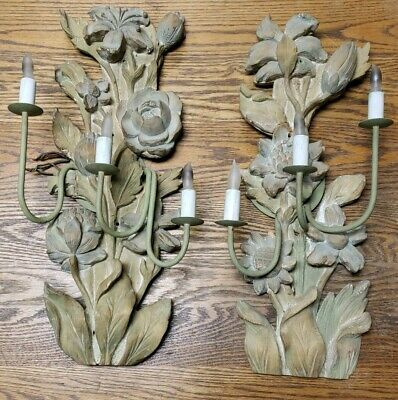 Antique  Hand Carved Wood Floral Painted Candle Wall Sconces Shabby Chic