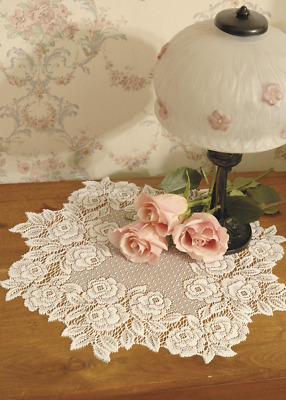 """SET OF 2 Heritage Lace ECRU TEA ROSE 14"""" Round Doilies - Made in USA!"""