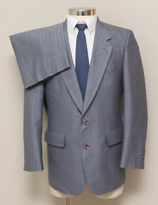 Mens 38S Society Brand 2 Piece Grey with Red/Blue/Tan Pinstripe Wool Blend Suit