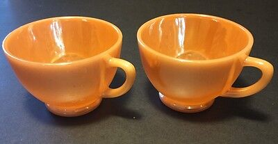 Fire King Peach Luster Laurel Cups, Set of 2