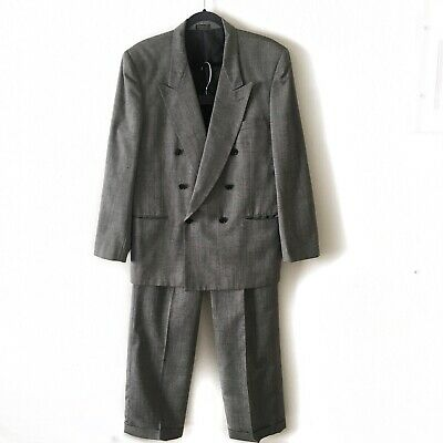 VINTAGE JONES NEW YORK MENS Silver Gray Double Breasted Pant Suit Size 42 #001